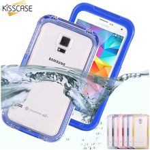 KISSCASE Waterproof Swim Surfing Case For Samsung Galaxy S3 S4 S5 Case Plastic Coque Clear Front Back Cover Diving Capa Coque