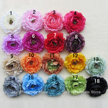 "4"" Layered Ruffle Ranunculus Flowers Artificial Flowers Hair Accessories 50pcs 18colors XMF01"