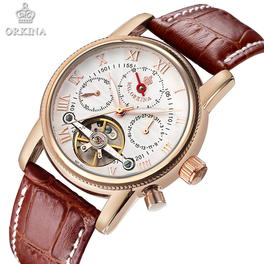 Mens watches Automatic mechanical watch tourbillon clock leather Casual business wristwatch relojes hombre top brand luxury 2017<br>