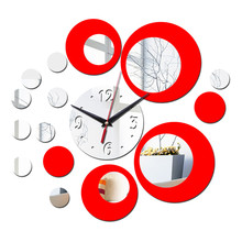 45*45CM 1 Set Circle Mirror Acrylic Wall Clocks Wall Art 3D Home Decor Europe  Kitchen Living Room Decor Classic Color