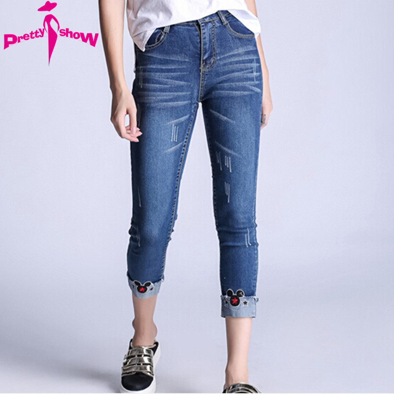 4XL 5XL Ripped Jeans Women 2017 Spring Mickey Embroidery Denim Blue Pencil Pants European Casual Jeans Trousers Female Plus SizeОдежда и ак�е��уары<br><br><br>Aliexpress