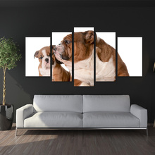 canvas painting wall art decor BANMU 5 Panels home Dog English Bulldog Family Isolated 8 Week Old Puppy Painting Picture Print(China)