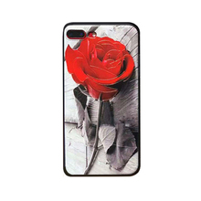 2017 Fashion cartoon sexy girl perfume simulation red rose branch leaf radiating tpu case skin For Iphone66s/6plus6splus/7/7plus