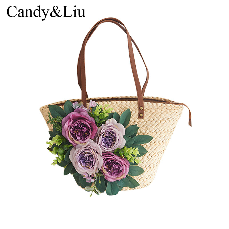 Shipping Korean original flower female bag summer beach bag straw bag rattan braided grass bag<br>