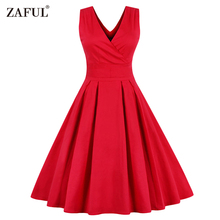 ZAFUL Women Sleeveless Vintage Summer Dress 50s 60s Swing Retro Plus Size M~4XL Cotton Party bowknots Feminino Vestidos cb - China Fashionable Clothings store