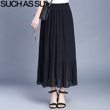 SUCH AS SU New Chiffon Skirt 2017 Spring Summer Black Grey Long Maxi Skirt For Women Skirts Elastic Waist Ladies Pleated Skirt