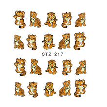 1Sheets Water Sticker Nail Art Sticker Lovely Small Tiger Printing on Nails Tips Watermark Nail Decals Foils STZ217