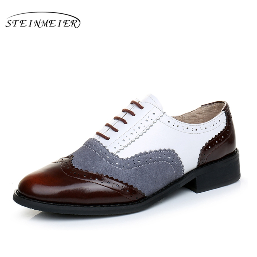 Genuine leather big woman US size 11 designer vintage flat shoes round toe handmade brown white grey oxford shoes for women fur<br>