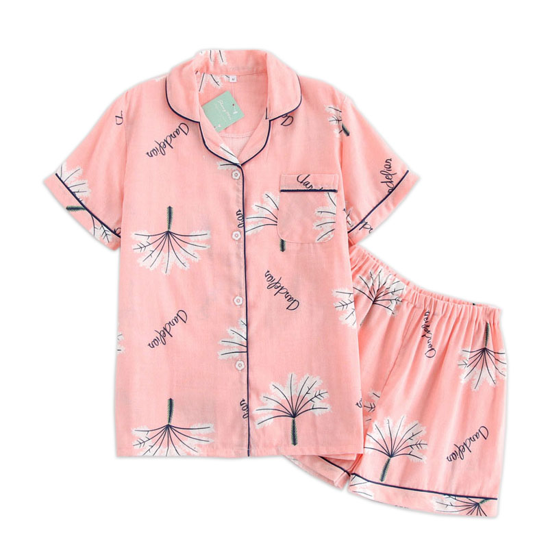 Japanese simple short pyjamas women 100% cotton short sleeves ladies pajama sets shorts Cute cartoon sleepwear women homewear(China)