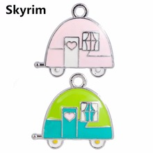 Skyrim Jewelry Making Accessories Enamel Camping Trailer Charms For DIY Necklace/Bracelet/Choker Floating Pendant Kid Gift 20PCS(China)