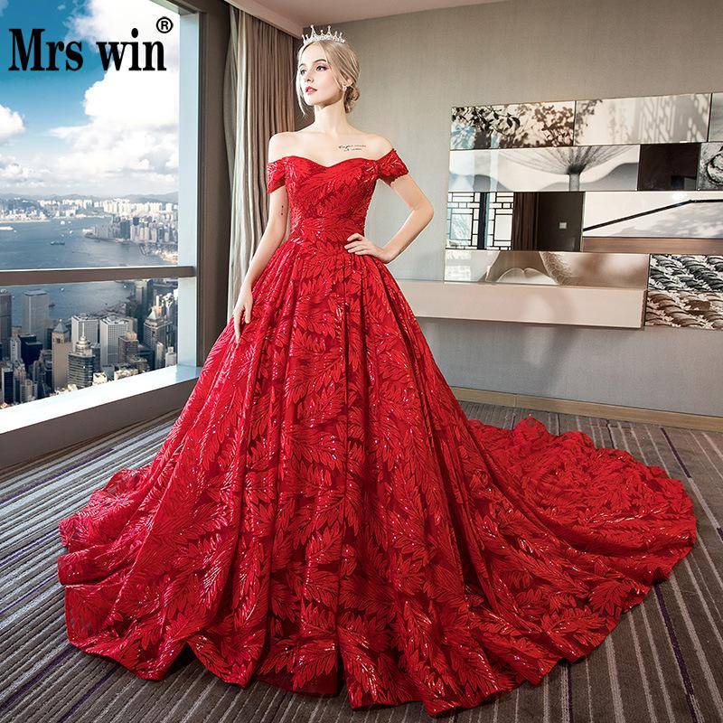 Vintage Wedding Dresses 2019 Mrs Win Red Boat Neck Ball Gown Princess Vestido De Noiva 2 Colors Robe De Mariee Grande Taille F