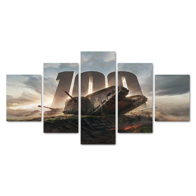 HDARTISAN-5-Pieces-Firing-Tank-Canvas-Art-Wall-Pictures-For-Living-Room-Game-Painting-Home-Decor.jpg_640x640