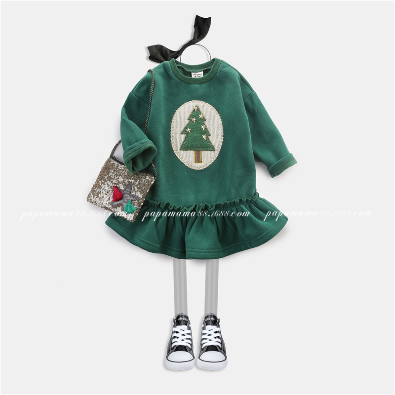 2017 autumn and winter Princess Dress Christmas tree pattern long sleeved dress cotton baby girl dress party dresses<br><br>Aliexpress