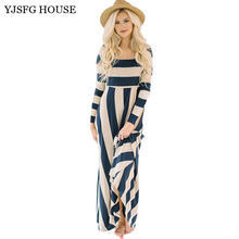 YJSFG HOUSE Elegant Women Long Sleeve Evening Party Dresses Vintage Ladies Striped Office Dress High Waist Long Maxi Dress Robe(China)