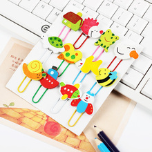 24 PCS Student Cartoon Wooden Clips Cute Animal Paperclip Bookmarks Clips Learning Office Supplies(China)