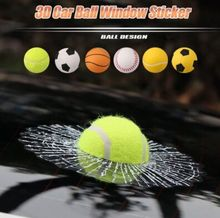 Car 3D Sticker Window Full Body Stickers Crazy Prank Ball Hits Tennis Basketball Broken Glass For Car Styling Auto Accessories(China)