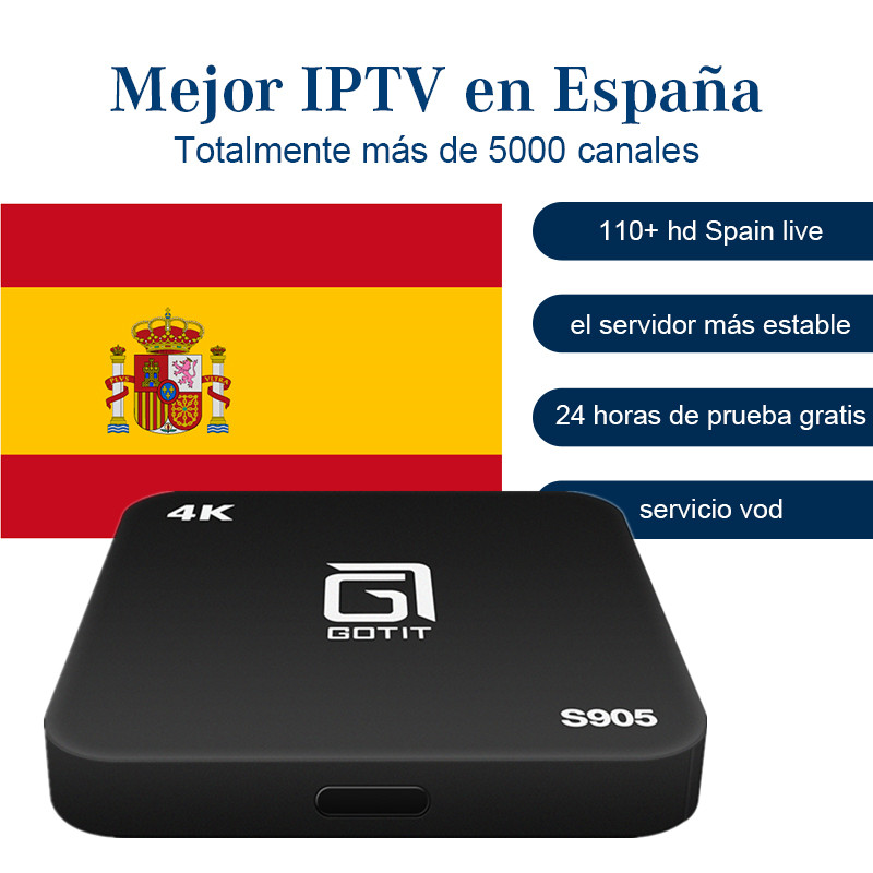 GOTiT S905 Android TV Box Spain iptv Denmark Norway Arabic Dutch Europe IPTV H.265 4K Amlogic S905 Quad-Core