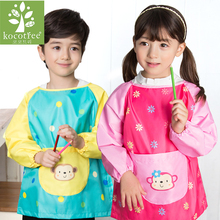 Children Girls Boys Waterproof Long Sleeve Art Smock Apron 2017 New Cartoon Children's Clothing Baby Painting Aprons Kids Bibs(China)