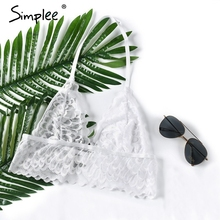 Simplee Sexy halter white lace bra bralette Unpadded mesh hollow out brassiere Summer transparent crop top lingerie