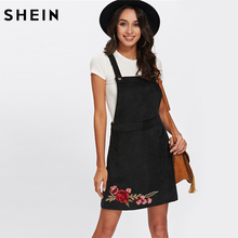 Buy SHEIN Casual Dress Clothes Women Black Sleeveless Rose Embroidery Patch Overall Dress Floral Sheath Dresses Women for $16.35 in AliExpress store