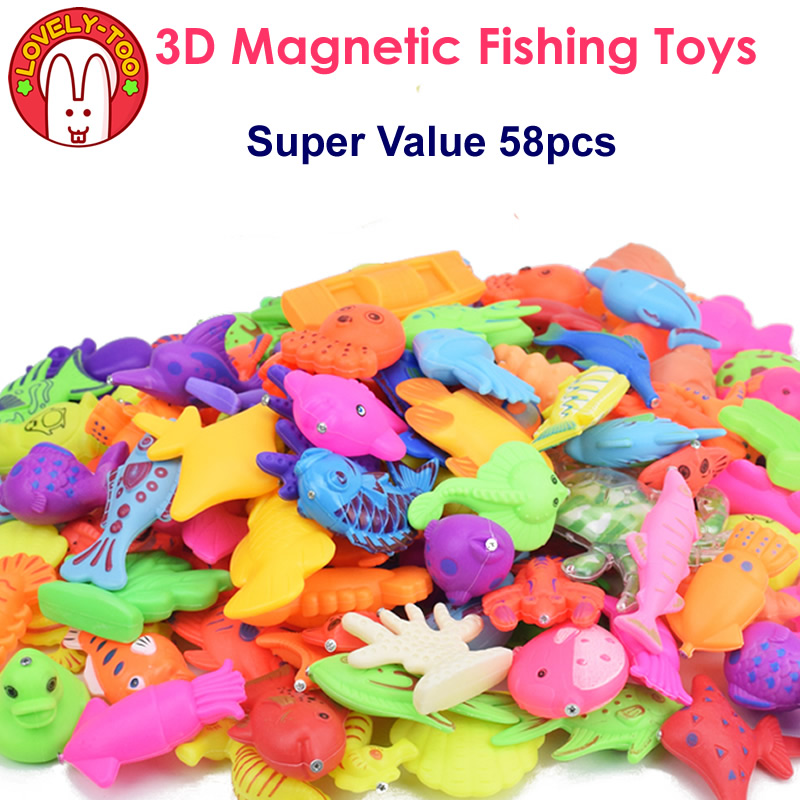 Lovely Too 58pcs Magnetic Fishing Toys Fish Magnet Games With Rod And Net Educational Toy For Children(China)