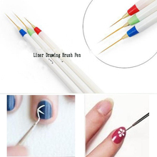 Good Quality  3pcs Fashion Nail Art Acrylic Tips Liner Drawing Brush Pen Plastic Beauty Nail Brush Personal Nail Care Pens Tool