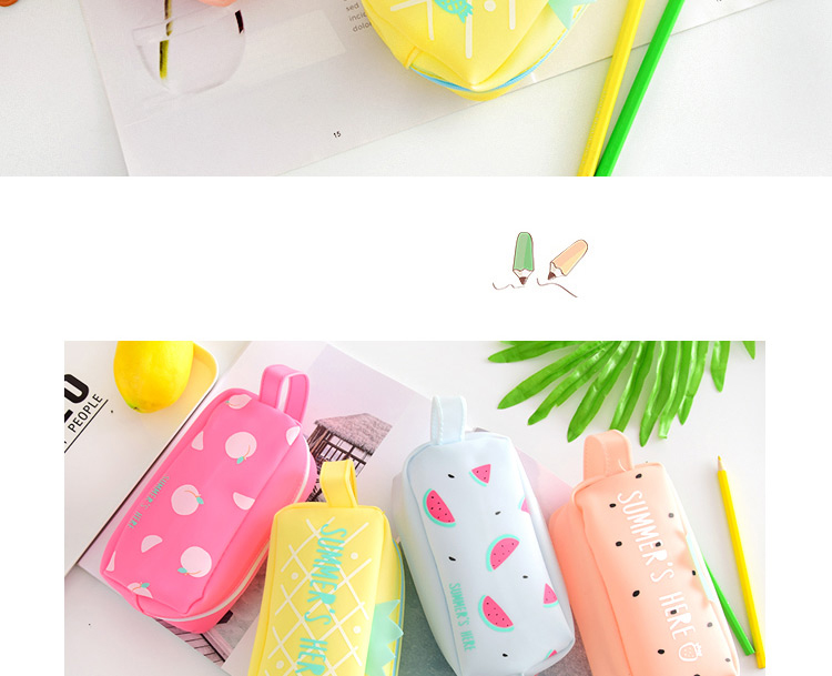 Large Bag Pencil Case For Student Girl  Cute School Stationery Supplies Gift Big Kawaii Silicone Cartoon Fruit Pen Box Zipper 1 (8)1