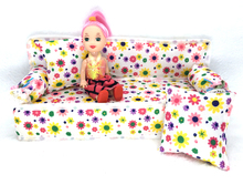NK 2 Items Cute Dollhouse Furniture Flower Cloth Sofa Couch With 2 Cushions+Kelly  Doll  For Barbie Doll House Toys Best Gift