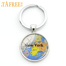 TAFREE fashion New York city map key chain charming bright color NYC map keychain jewelry gift Special place in your heart KC467(China)