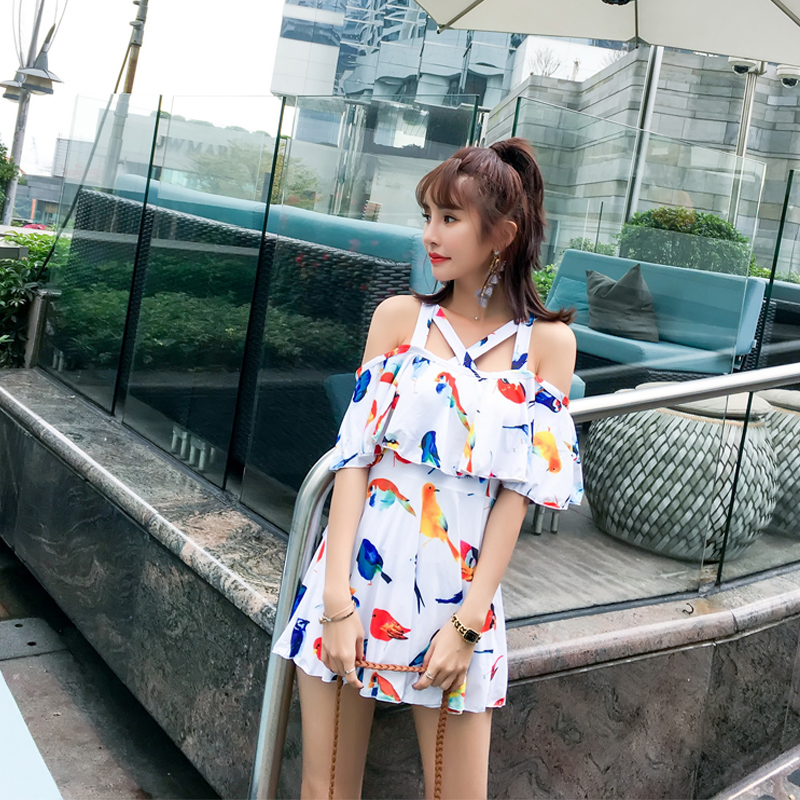 NIUMO NEW Spa One-piece Swimsuit Woman Small Chest Gather Together Skirt Style Large Size Pants Swimwear Beach Sports Swim<br>