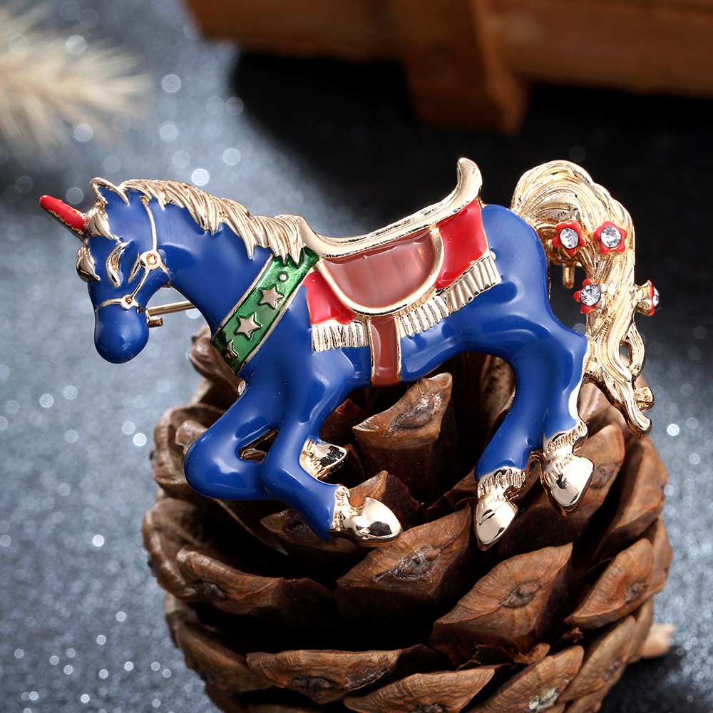 Blue Enamel Crystal Horse Brooch Pin
