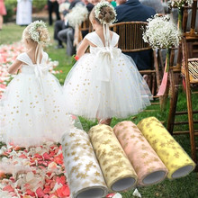 Buy 15cm*9.2m Tissue Tulle Roll Fabric Spool Craft Tulle Tutu Dress Gold Star Print Organza Baby Shower Birthday Wedding Decoration for $2.98 in AliExpress store