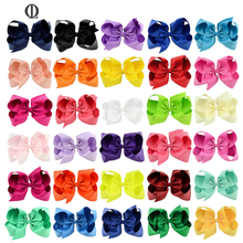 30PCS 15CM Childrens Bow Hairpin For Girl Ribbon Solid Color Alice Flower Hairclips Hair Accessories Wholesale 30 Color(China)