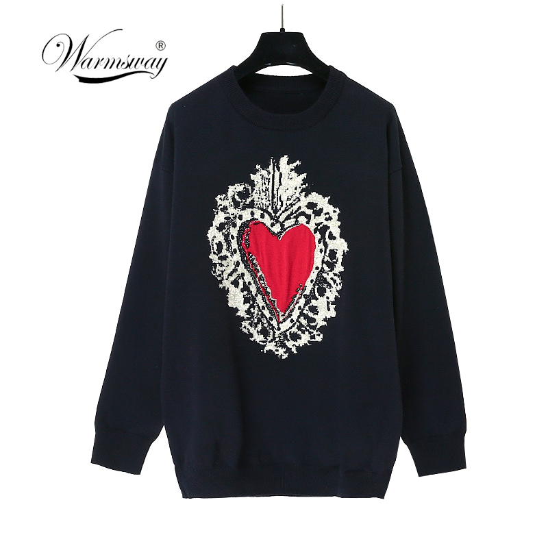 Pull Sweater Women Medium Long Casual Plus Size Knitted Pullover Feminino Elegant Female Heart Cute Knitting Sweaters  C-277