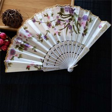 New Chinese Japanese Vintage Fancy Folding Fan Hand Plastic Lace Silk Flower Dance Fans Party Supplies For Gift(China)