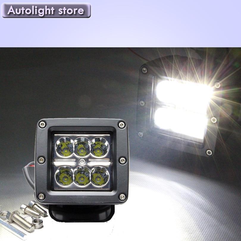 1 pair 18W Cree chip LED Work Lamp Light Bar Offroad 12V IP67 FLOOD FOR 4x4 OFF ROAD ATV TRUCK BOAT UTV WORKLIGHT<br><br>Aliexpress