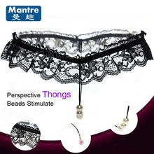 Fashion Women Sexy Thongs Lace Underwear Clits Pussy Stimulate Beads Penis Massager Delay Couples G-String Lingerie Sex Toys(China)