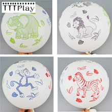 20pcs/lot 12inch Cartoon Animal Printed Latex Balloon Inflatable Air Balls Wedding Decoration Children's Birthday Party Supplies