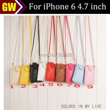 1pcs/lot Free Shipping Neck Strap Leather Pouch Case for iPhone 6 4.7 inch
