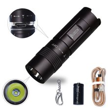 WUBEN Waterproof LED Flashlight Mini USB Rechargeable Keychain Lamp 300 Lumens Real Tactical torch Household Light EDC + Battery(China)