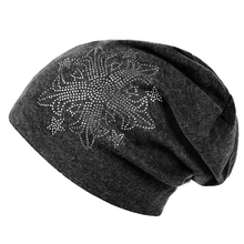 Unisex Men Women Casual Rhinestone Glitter Knitted Winter Cap Solid Color Beanie Skull Cap Hat Black-A03 One Size(China)