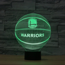 NBA golden state warriors curry Illusion Night Light LED 7colors changing WARRIORS Basketball Team Logo Acrylic USB Touch Lamp