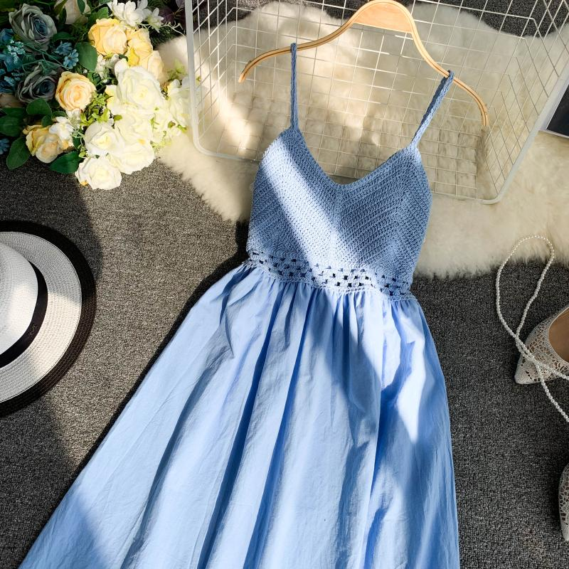 19 new fashion women's dresses Fresh openwork knit stitching V-neck strap high waist dress 1