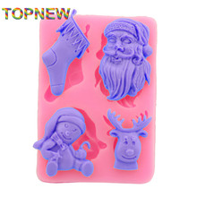 Christmas Xmas Santa Sock Deer Mold  for Fondant Sugar Jello Jelly Ice Soap Cake Decorating Tools Silicone Mould Navidad C1687