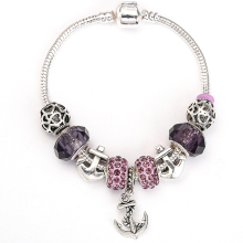 SPINNER Anchor Shape Pendant Purple Charm Bracelet For Women  Original DIY Beads Fit Pandora Bracelet Jewelry Gift