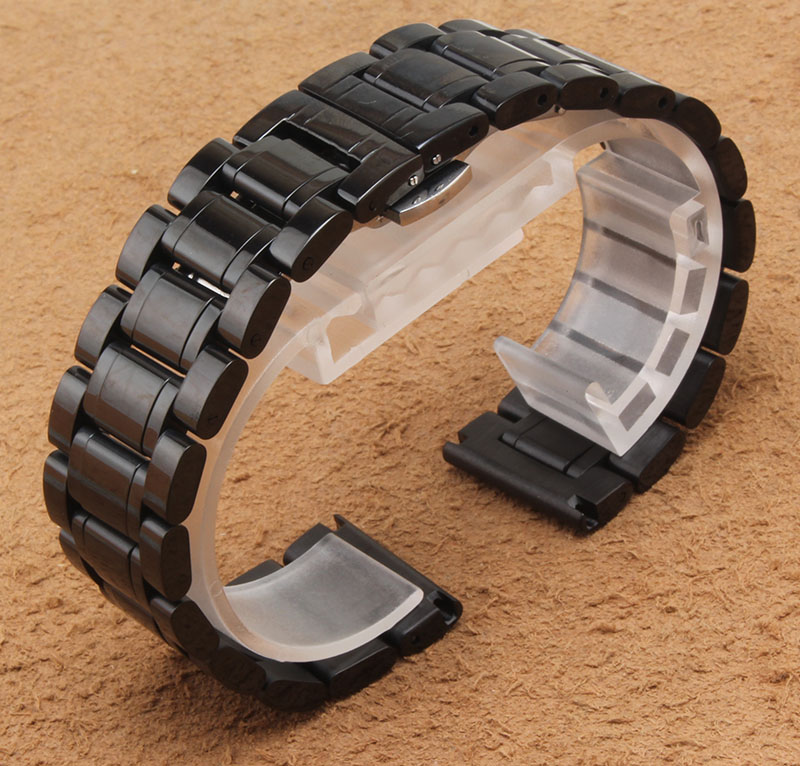 Black Stainless steel Watchband solid links width 18mm 20mm 22mm 24mm 26mm 28mm 30mm metal wristwatches band accessories hot<br>