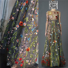 1Yard Net Yarn Three-dimensional Embroidery Chiffon Flower Lace Fabric Mesh Material DIY Dress Clothing Accessories