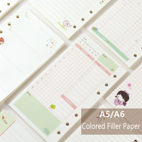 A5/A6 Cute Creative Colored Diario Binder Filler Paper Office School Stationery Planner Accessories Filler Paper For Filofax