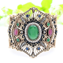 New Turkish Women Adjustable Cuff Resin Flower Bangle Bracelet Antique Gold Color Arab Pulseiras Feminino Bride Jewelry Bangles