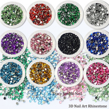 1 Box Glitter Nail Decoration Round Colorful Rhinestone Flat Back Nail Art Studs Shinny 3D Crystal Manicure Glitters TR01-12